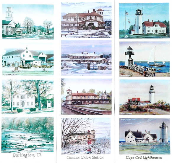 Work samples on this page: Burlington, Canaan Union Station CT, Cape Cod Lighthouses